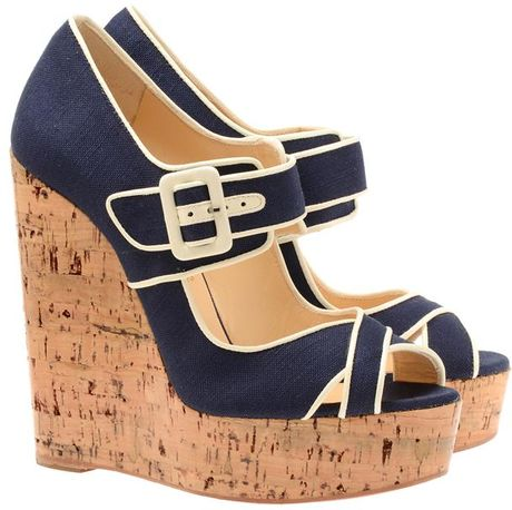 Christian Louboutin 'Melides 'Canvas and Cork Platform Wedges in Blue (navy)