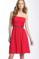 Donna Morgan Belted Chiffon Dress - Lyst