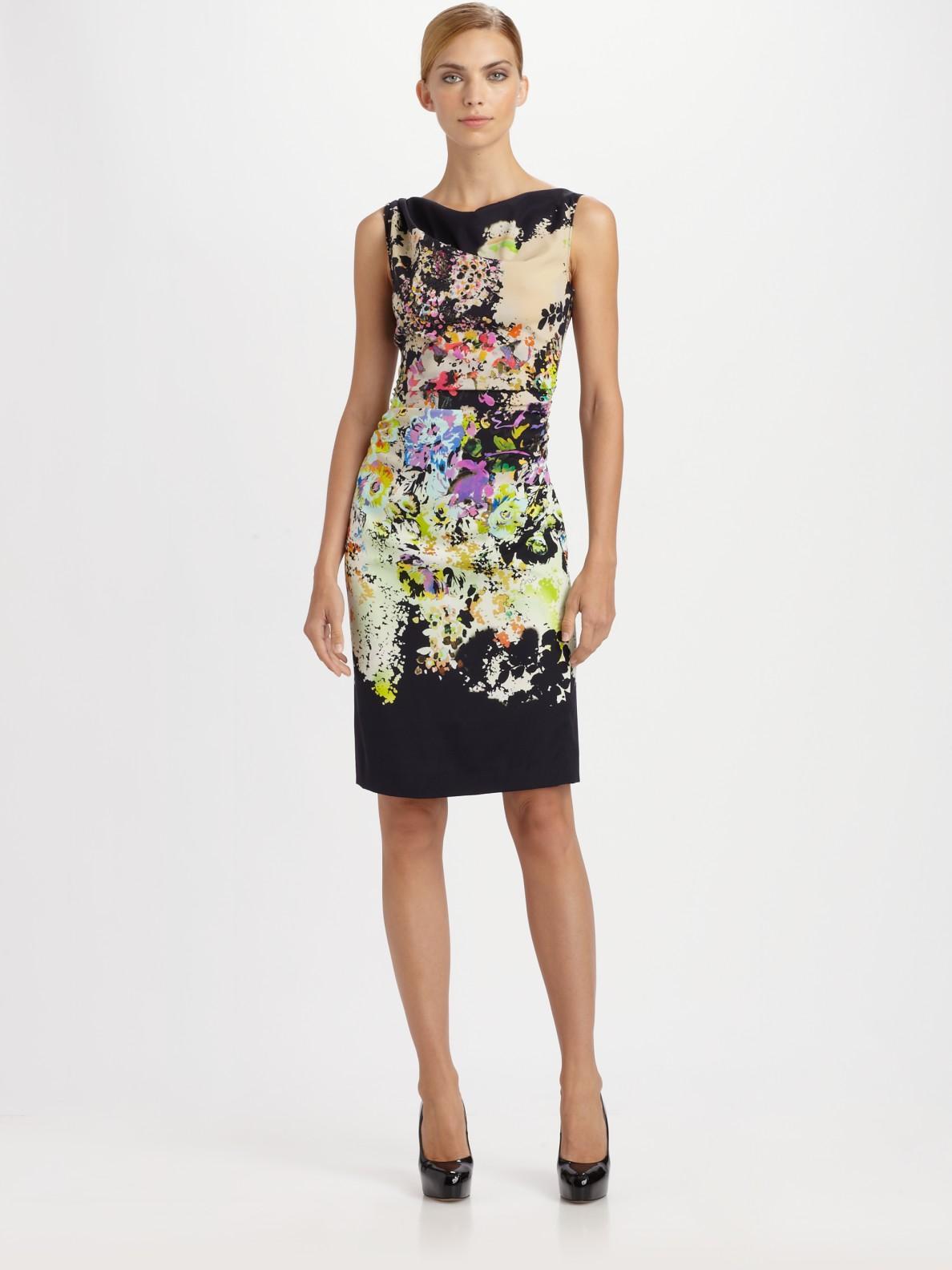 Lyst etro silk floral dress in natural gallery mightylinksfo
