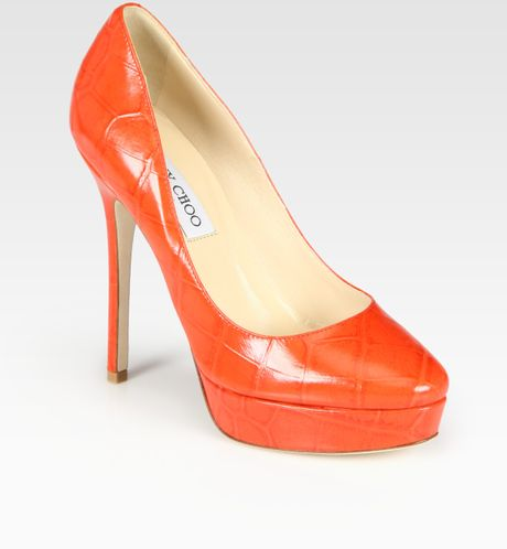Jimmy Choo Cosmic Croc-print Leather Platform Pumps in Orange (tan)