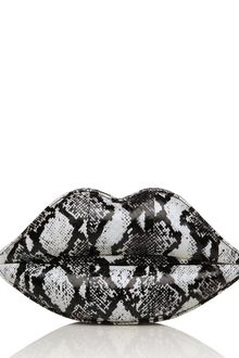 Lulu Guinness Black and White Snakeskin Lips Clutch - Lyst
