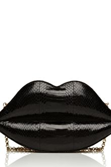 Lulu Guinness Black X-large Snakeskin Lips Clutch - Lyst
