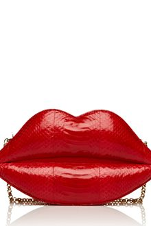 Lulu Guinness Lipstick Red X-large Snakeskin Lips Clutch - Lyst