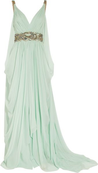 Marchesa Crystalembellished Silkchiffon Gown in Green (aqua) - Lyst