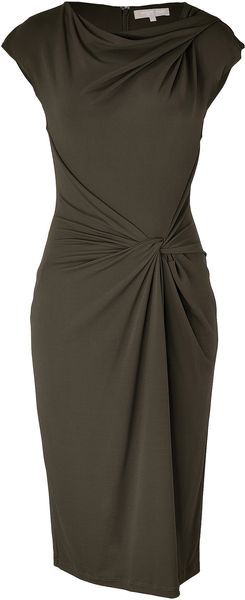 Michael Kors Teak Knot Front Dress in Green - Lyst