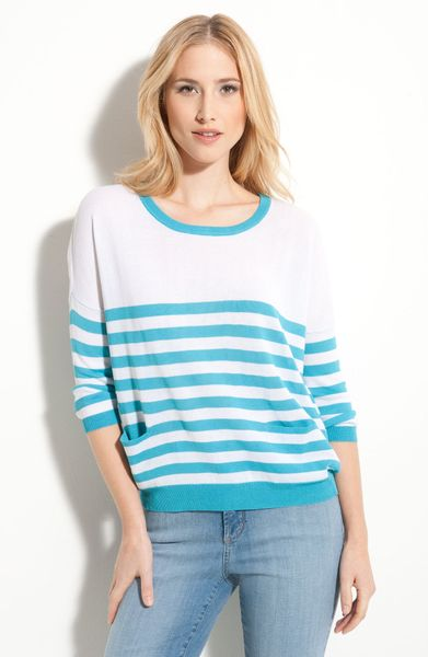 Payton Button Trim Stripe Sweater in Blue (pop blue/ white) - Lyst
