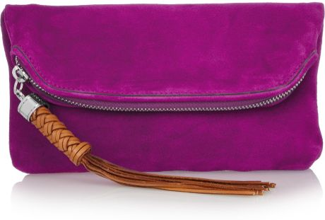 Ralph Lauren Collection Tasseled Suede Clutch in Purple (magenta) - Lyst