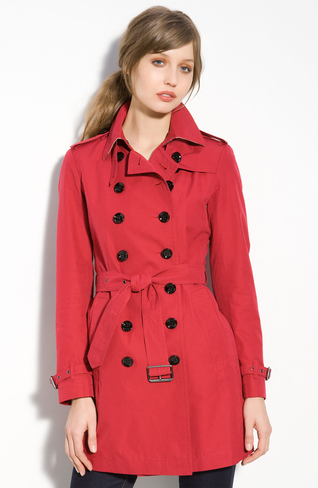 burberry brit belt trench coat in red military red lyst. Black Bedroom Furniture Sets. Home Design Ideas