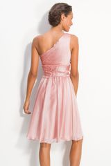 Ml Monique Lhuillier Bridesmaids Ruffle One Shoulder Chiffon Dress in Pink (blush) - Lyst