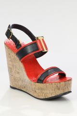 Tory Burch Angeline Leather Slingback Wedge Sandals - Lyst