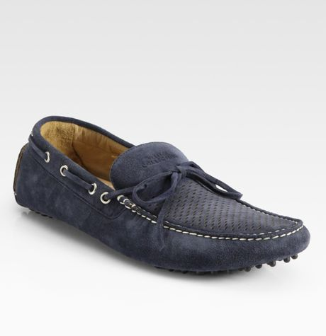 Versace Suede Drivers in Blue for Men (navy) - Lyst