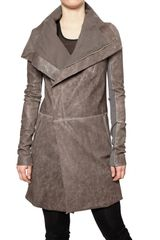 Rick Owens Long Biker Leather Jacket - Lyst