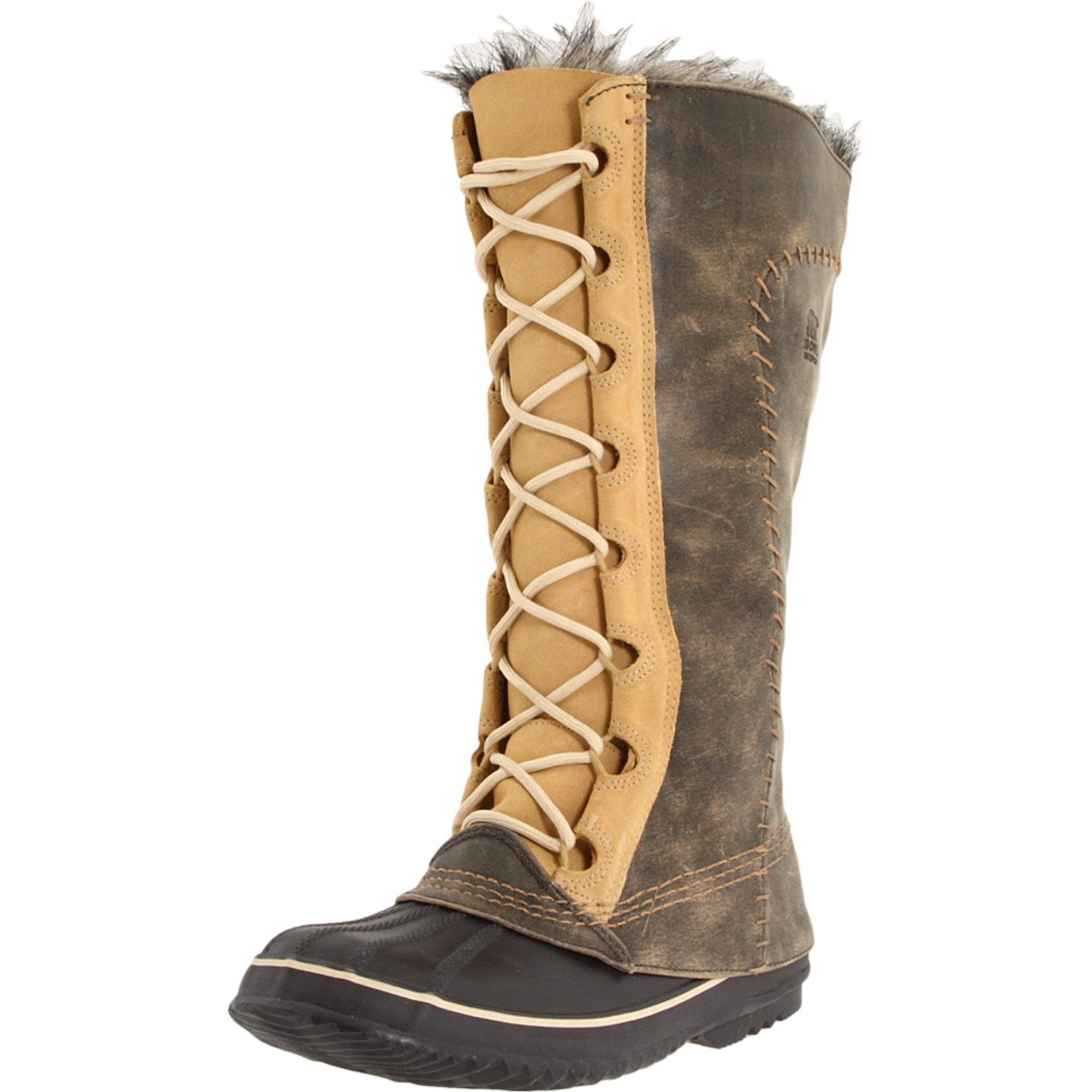 sorel womens cate the great boot in brown curry biscotti