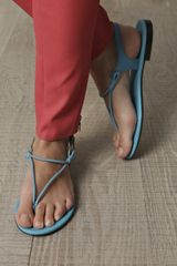 Bottega Veneta Twisted Leather Sandals in Blue (turquoise) - Lyst