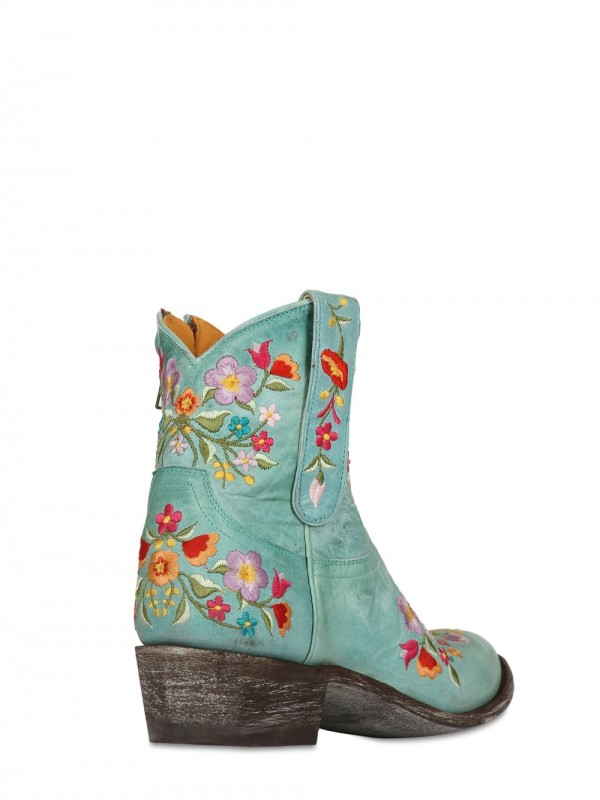 Lyst Mexicana 40mm Leather Embroidered Floral Boots In Blue