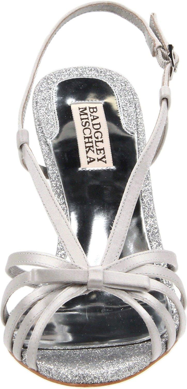 Badgley Mischka Wright Light Grey Silver Heels Satin Strappy Sandal NEW Sparkle