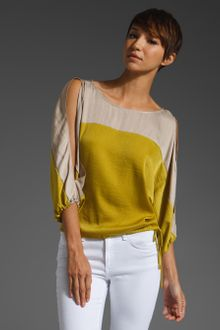 BCBGMAXAZRIA Color Block Blouse W/ Tie - Lyst