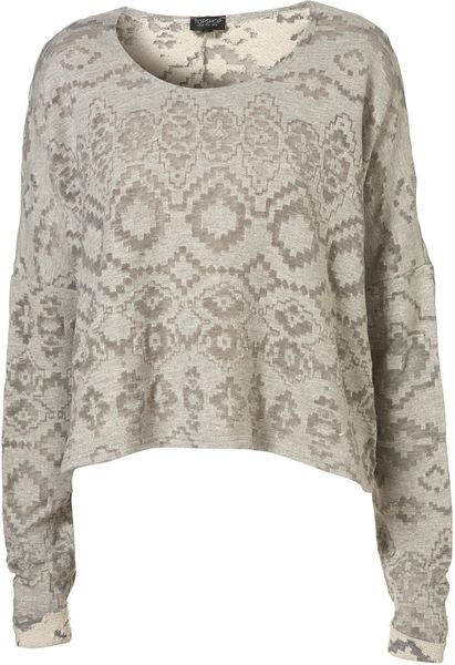 Topshop Burn Out Aztec Sweat in Gray (grey) - Lyst