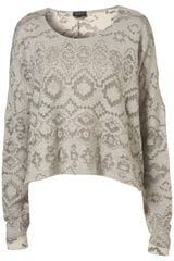 Topshop Burn Out Aztec Sweat