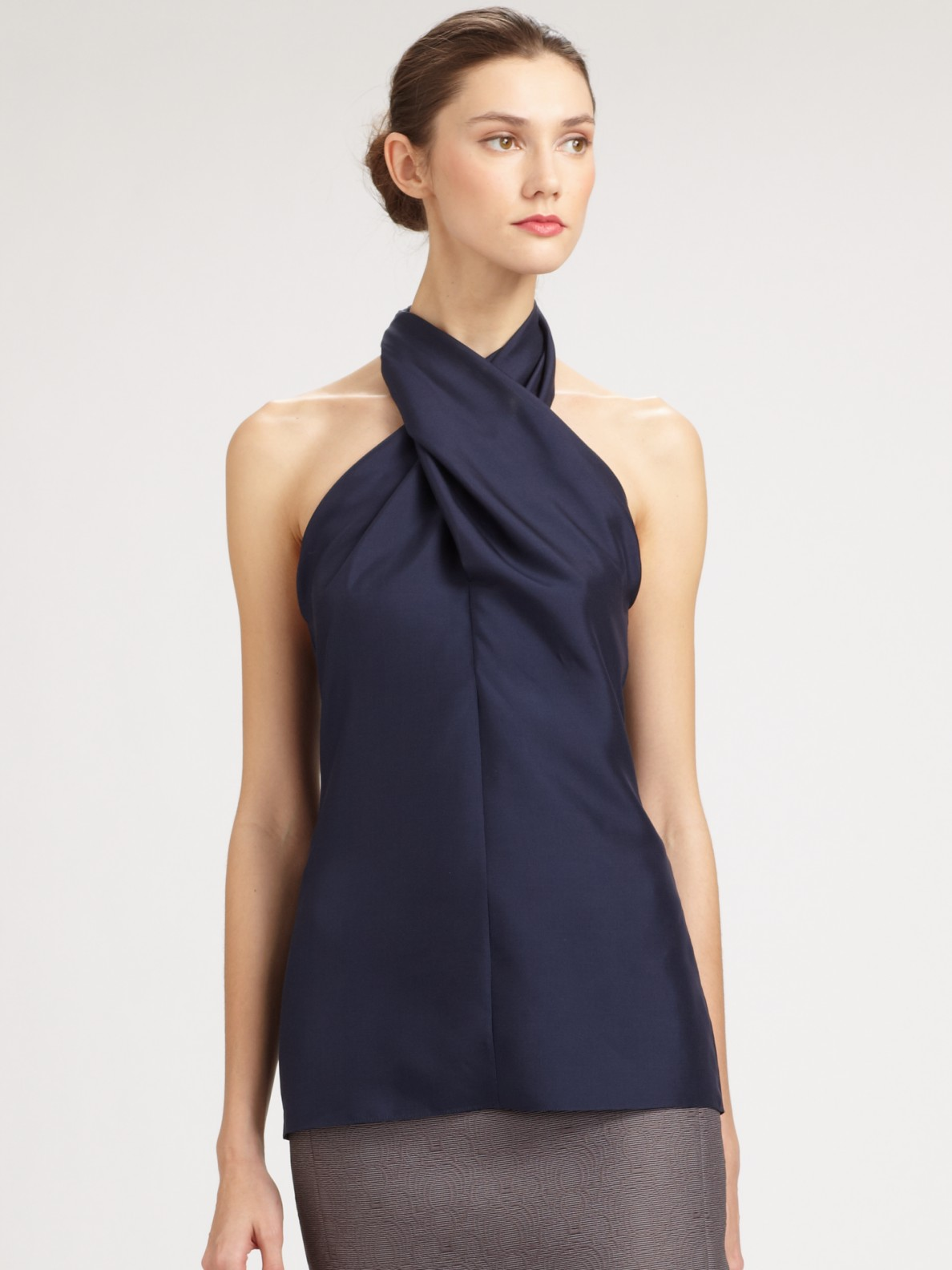 Saint Laurent Silk Cross Neck Halter Top In Blue Lyst