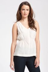 Amber Sun Sleeveless Silk Blouse with Smock Waist - Lyst