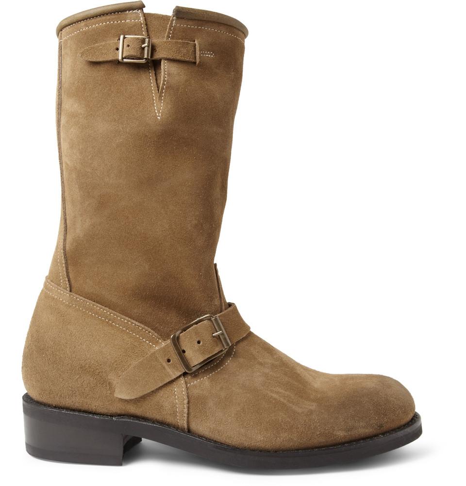 balmain buckled suede biker boots in brown for lyst