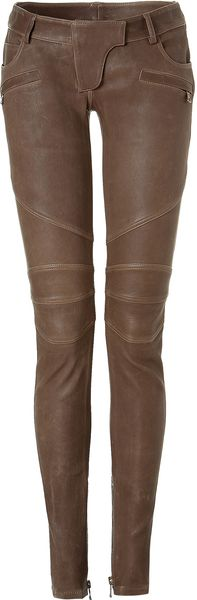 Balmain Taupe Low Rise Leather Pants - Lyst