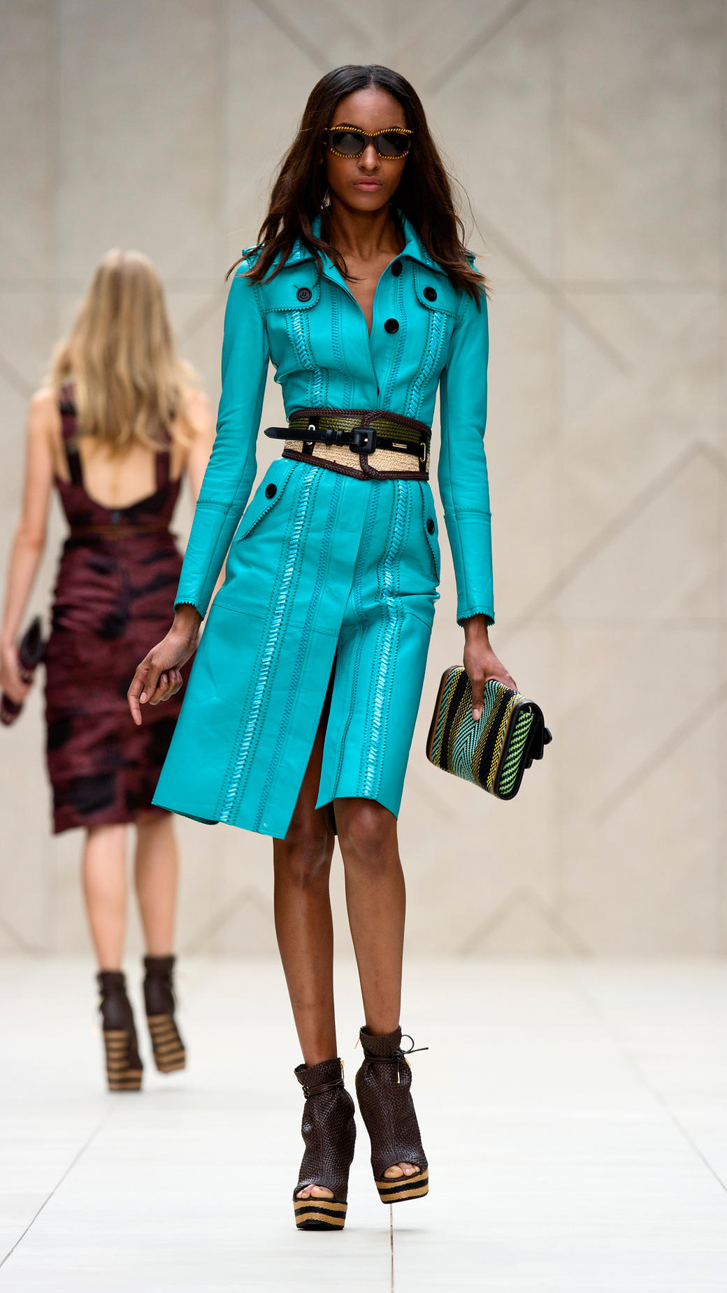 Burberry Prorsum Runway London Fashion Week Aw14: Burberry Prorsum Brogue Leather Trench Coat In Blue