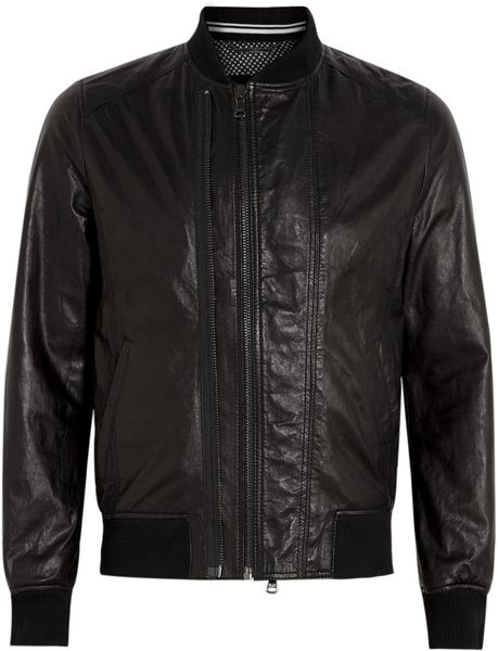 D&g Black Double Zip Front Leather Jacket in Black for Men