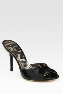 Dolce & Gabbana Classic Glazed Leather Peep Toe Slides - Lyst