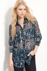 Equipment Sheer Camo Print Silk Shirt - Lyst