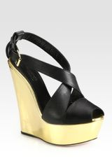 Giambattista Valli Metallic Leather Wedge Sandals in Black - Lyst