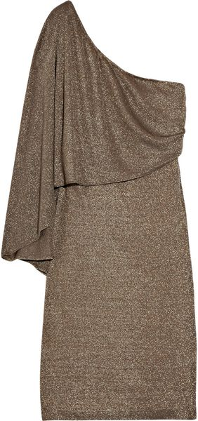 Halston Heritage Metallic Jersey Dress - Lyst