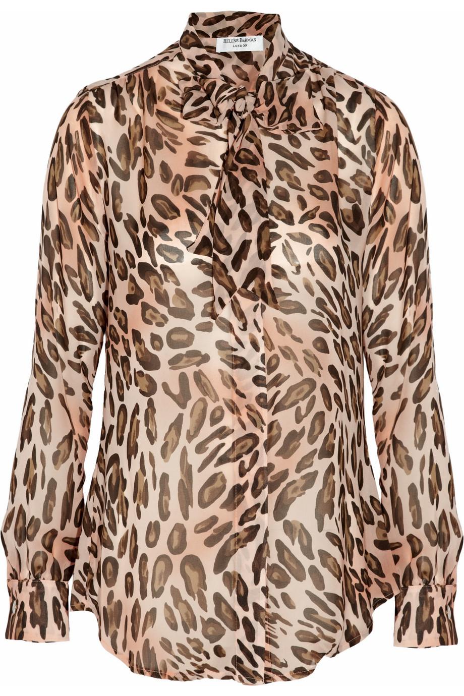 bbc87561e637d1 Lyst - Helene Berman Leopard-print Chiffon Blouse