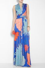 Issa False Wrap Printed Silk Jersey Maxi Dress in Blue (multicoloured) - Lyst