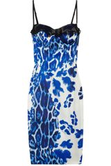 Just Cavalli Leopard-print Stretch-satin Bustier Dress