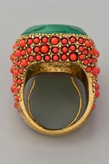 Kenneth Jay Lane Coral & Jade Cocktail Ring
