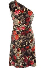 Lela Rose Sequined Floral-print Dress - Lyst