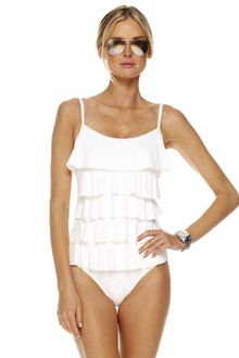 Michael by Michael Kors Cascading Ruffle Maillot Swimsuit with Bra - Lyst
