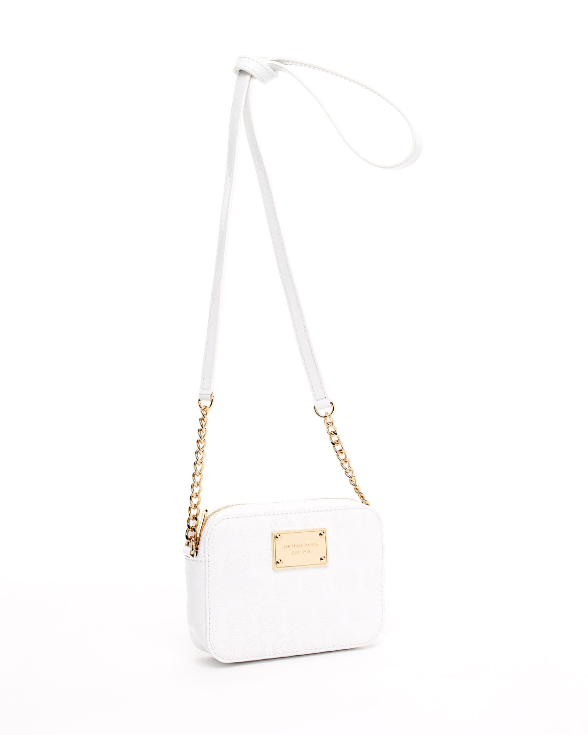 82eecaf67dfc Michael Kors Jet Set Crossbody in White - Lyst