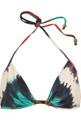 Milly Positano Printed Triangle Bikini Top - Lyst