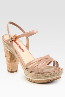 Prada Patent Leather and Cork Platform Sandals - Lyst