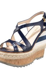 Prada Patent and Mirco Wedge with Espadrille Detail - Lyst