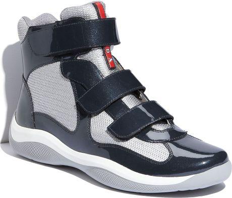 Prada Americas Cup High Top Triple Strap Sneaker In Gray