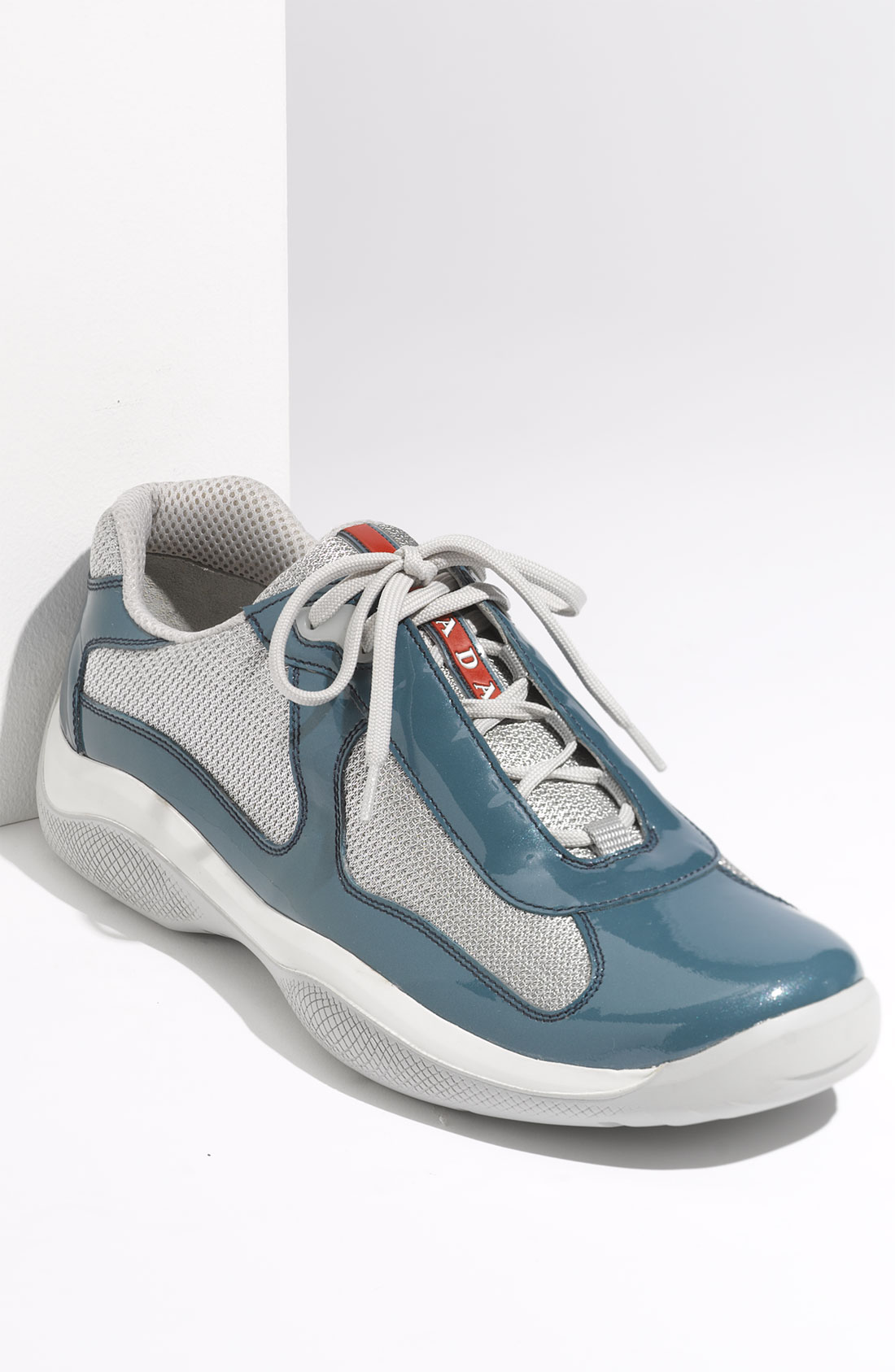 Prada Americas Cup Mesh & Leather Sneaker in Blue for Men (teal patent/ silver) | Lyst