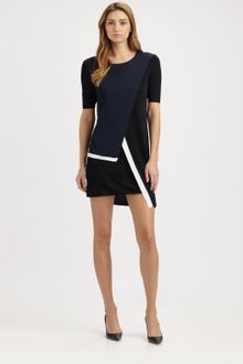 Pringle of Scotland Colorblock Faux Wrap Dress - Lyst