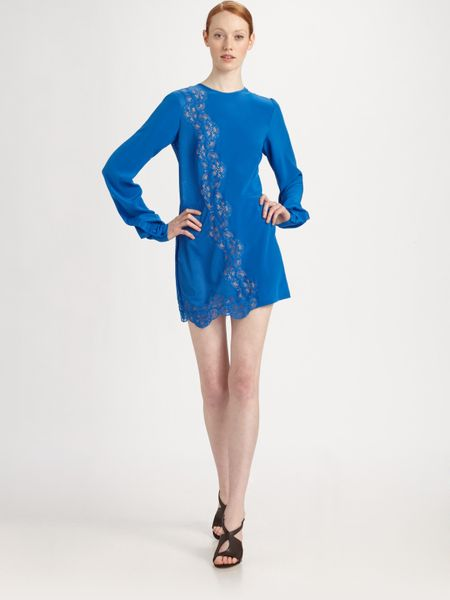 Stella Mccartney Crepe De Chine Lace Dress in Blue - Lyst