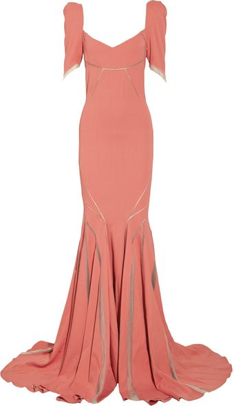 Zac Posen Stretch Satin-crepe Fishtail Gown - Lyst