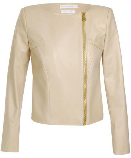 Altuzarra Lark Short Leather Jacket with Peplum in Beige - Lyst