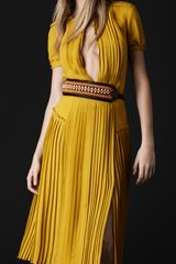 Burberry Prorsum Slash Front Silk Dress in Yellow (chrome yellow) - Lyst